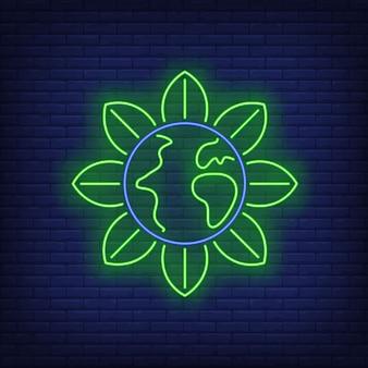 Insegna al neon della metafora del fiore del globo della terra.