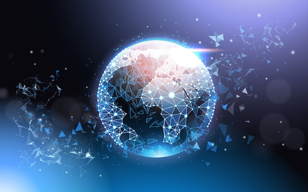 Earth globe futuristic low poly mesh wireframe on blue background global network concept