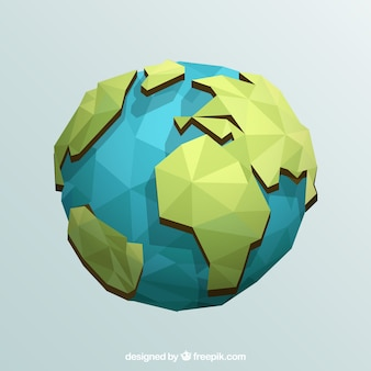 Earth globe in geometric design