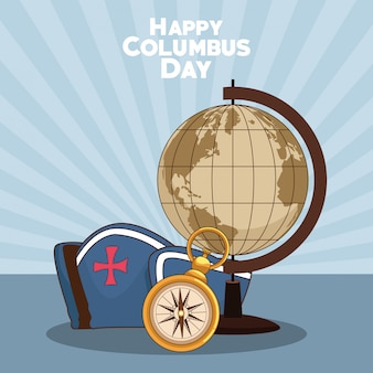 Earth globe and happy columbus day design