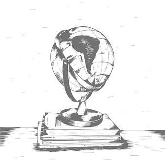 Earth globe illustration vintage