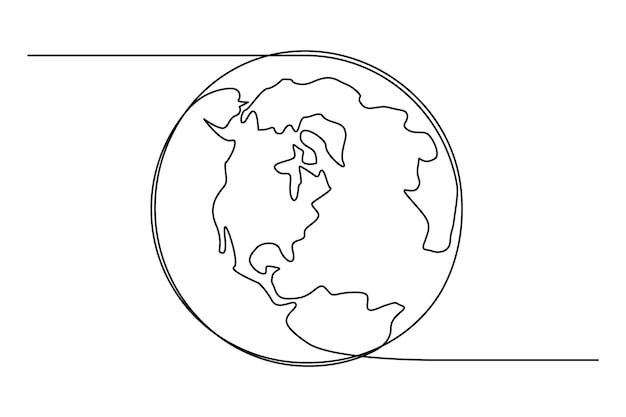 1つの連続した線画で地球儀。シンプルな落書きスタイルのベクトルラウンド世界地図。白い背景で隔離のインフォグラフィック地理。編集可能なストローク