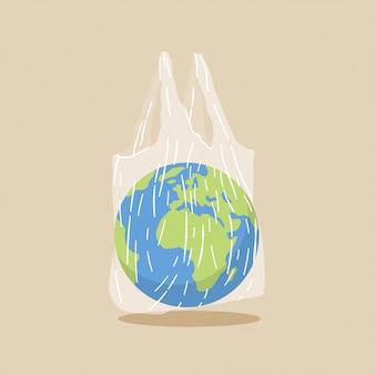 투명 비닐 봉투에 지구 지구입니다. 플라스틱 오염 문제 개념.
