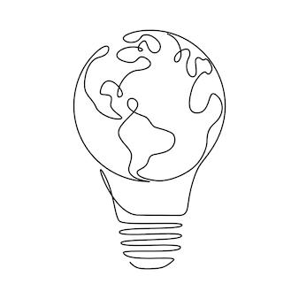 1つの連続した線画の電球内の地球儀。エコイノベーションのベクトルコンセプト、グリーンエネルギーのアイデア、シンプルな落書きスタイルの電気によるグローバルソリューション。編集可能なストローク