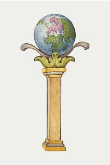 Globo terrestre su un'illustrazione di pilastro