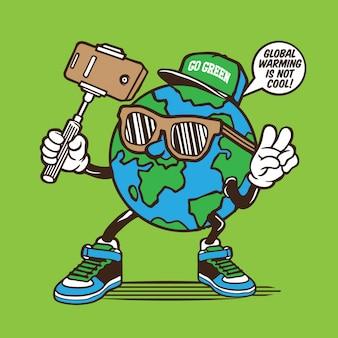 Earth globe selfie character
