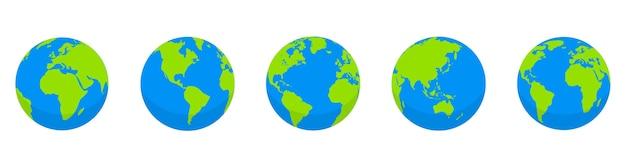 地球儀セット。地球の形をした世界地図。白い背景の上の地球儀コレクション。フラットスタイル