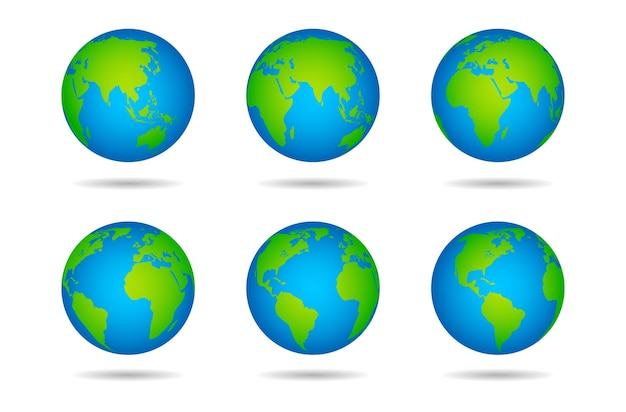 地球儀。白い背景の上の大陸、さまざまな角度からの地球、さまざまな緑の大陸と青い海、陸と水のベクトル図を含む球体の世界地図