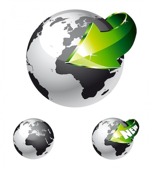 Earth globe with an arrow showing a recycle
