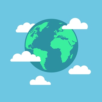 Earth globe with cartoon white clouds isolated on blue background flat planet icon travel concept