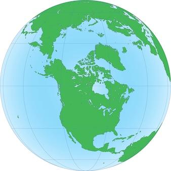 Земной шар с ориентированным на северный полюс