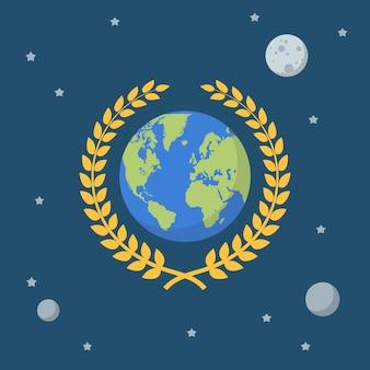 Земной шар с золотым венком на космическом фоне.