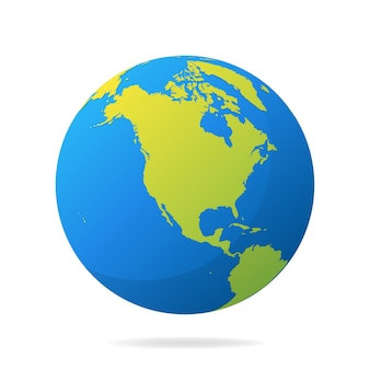Earth globe with green continents. modern  world map concept. world map realistic blue ball  illustration.