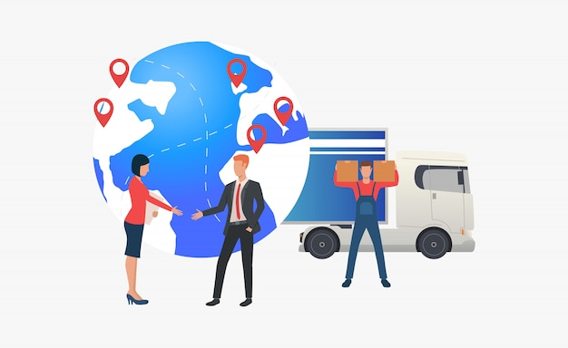 Earth globe with pointers, delivery and meeting business people