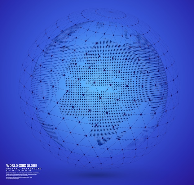 Earth globe with wireframe sphare