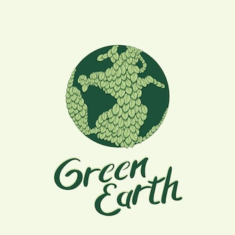 Earth globe wrapped with green leaves vector illustration