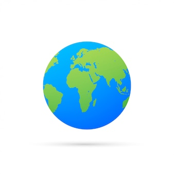 Earth globes isolated. flat planet earth icon.