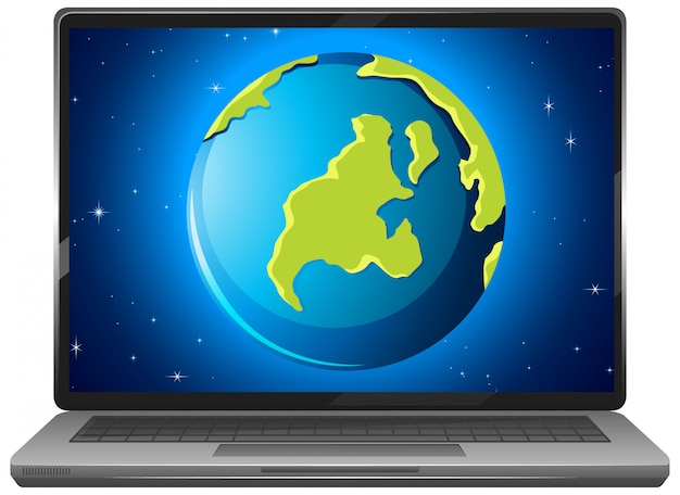 Earth graphic display on laptop screen