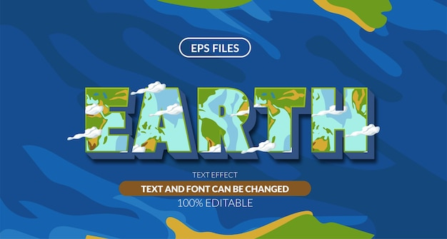 Earth green blue planet 3d editable text effect. eps vector file