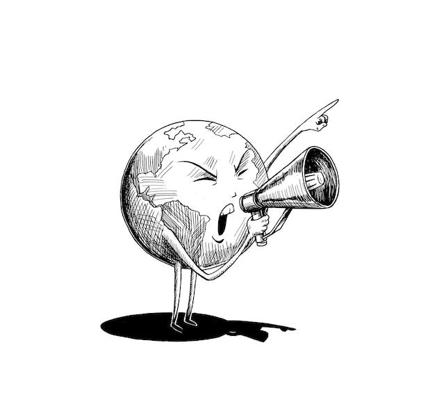 メガホンを持っている地球の手。ソーシャルネットワーク、プロモーション、広告のコンセプト。手描きスケッチデザインベクトルイラスト。