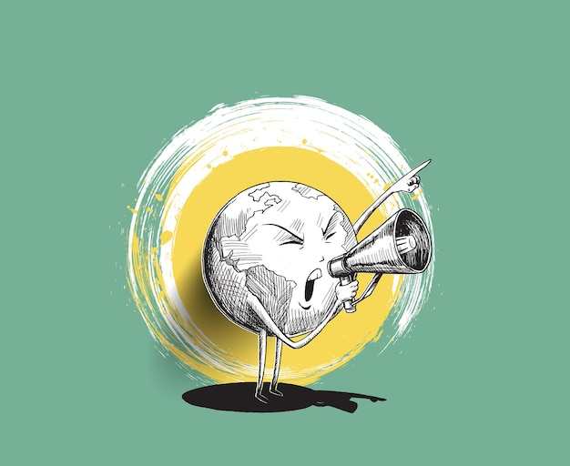 Earth hand holding megaphone. concept for social networks, promotion and advertising. hand draw sketch design vector illustration.