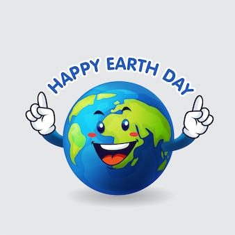 Earth happy earth day in isolated background