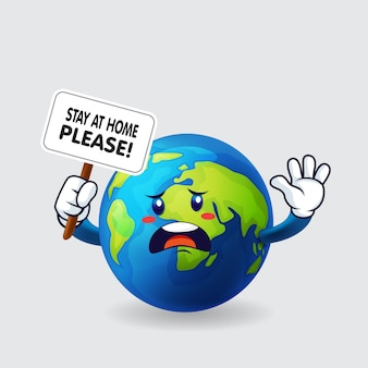 Earth holding sign say stay at home please in isolated background