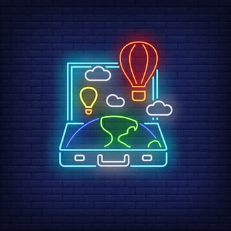 Earth and hot air balloons in open suitcase neon sign