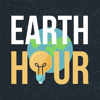 Earth hour banner with lamp and text. ecology poster. vector