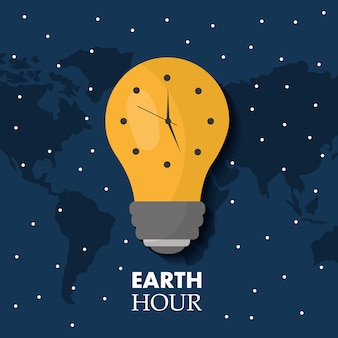 Earth hour bulb light ecology clock map stars