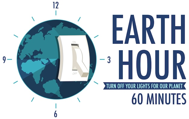 지구 시간 캠페인 포스터 또는 배너가 지구를 위해 조명을 끄십시오 60 분