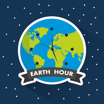 Earth hour clock world environment starry background