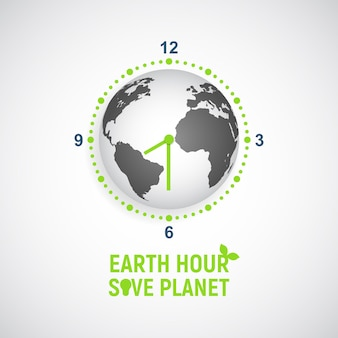 Earth hour. globe in the form of a clock with an arrow.