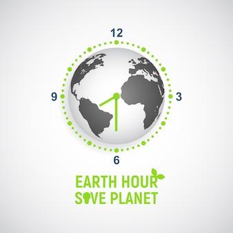 지구 시간. 화살표가있는 시계 형태의 글로브.