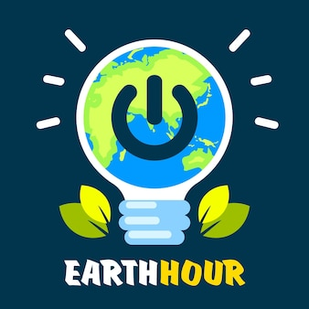 Earth hour illustration with lightbulb and turn off button