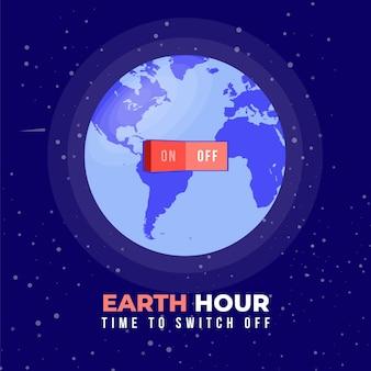Illustrazione di ora della terra con il pianeta e l'interruttore della luce