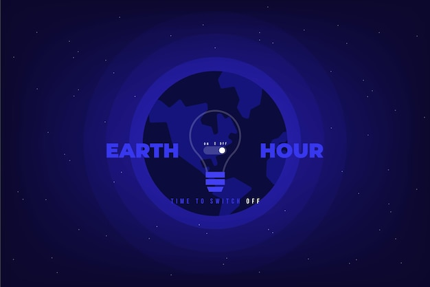 Earth hour illustration with planet and lightbulb