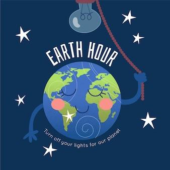 Illustrazione di ora della terra con il pianeta e la lampadina