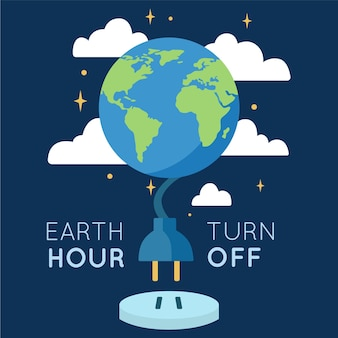 Earth hour illustration with planet and power cord