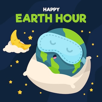 Earth hour illustration with planet sleeping