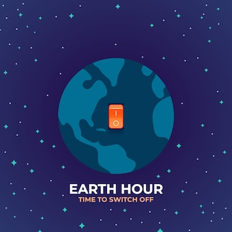 Illustrazione di ora terrestre con pianeta e interruttore