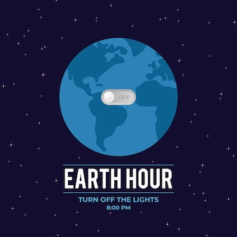 Earth hour illustration with planet and switch