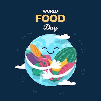 Земля обнимает овощи и фрукты во всемирный день еды