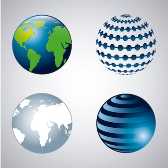 Earth icons over gray background vector illustration