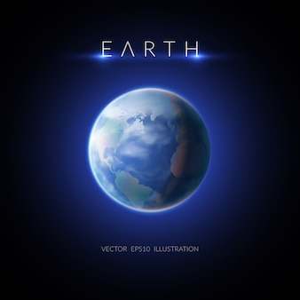 暗い平らなイラストの説明と地球の画像