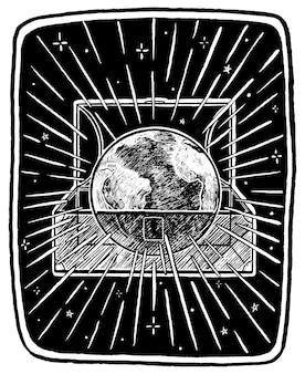 地球は私たちの宝物です。ヴィンテージエコロジカルポスター。宇宙を背景に胸の惑星地球。手描きのグラフィックベクトルイラスト。ポスター、プリント、ポストカードのデザイン。