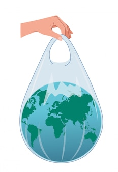 The earth is in a plastic bag that is held up by a human hands