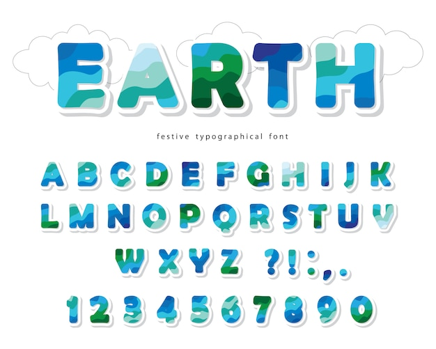 Earth landscape modern font