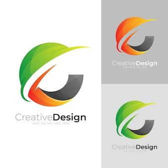 文字eアイコンテンプレート、カラフルなスタイルで地球のロゴ