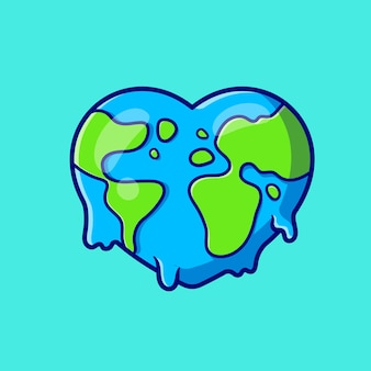 Earth love melted cartoon